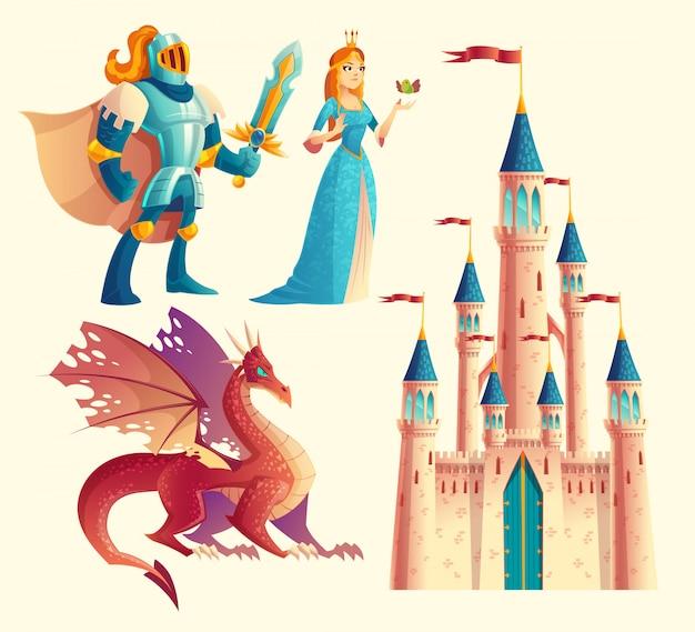 Conjunto de fantasia, objetos de design de jogo de conto de fadas isolados no fundo branco Vetor grátis