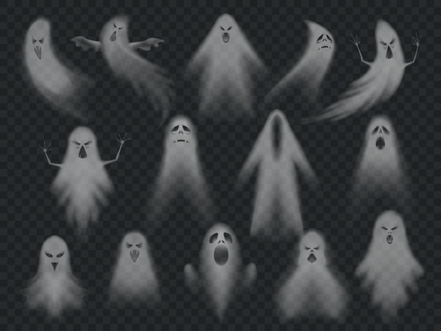 Conjunto de fantasmas assustadores de horror Vetor Premium