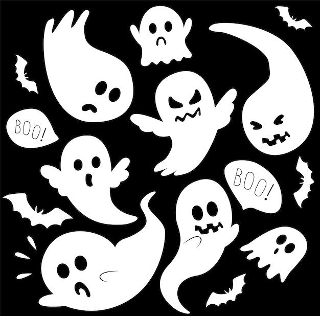Conjunto de fantasmas brancos assustadores Vetor Premium