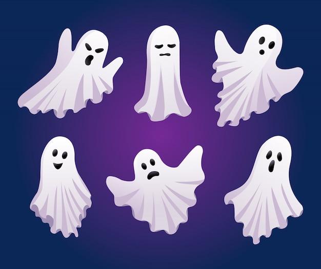 Conjunto de fantasmas. conceito de dia das bruxas. ícones de fantasma isolados Vetor Premium