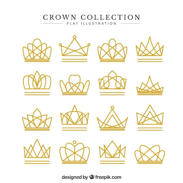 Conjunto de fantásticas coroas lineares Vetor grátis