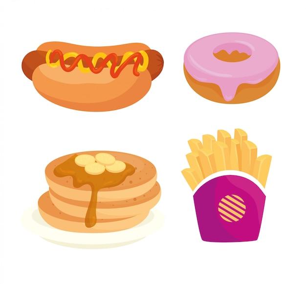 Conjunto de fast food, almoço ou refeição Vetor Premium