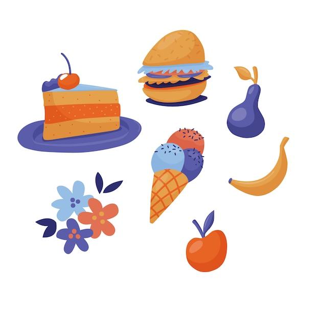 Conjunto de fast food - bolo, hambúrguer, sorvete e frutas, estilo plano bonito Vetor Premium