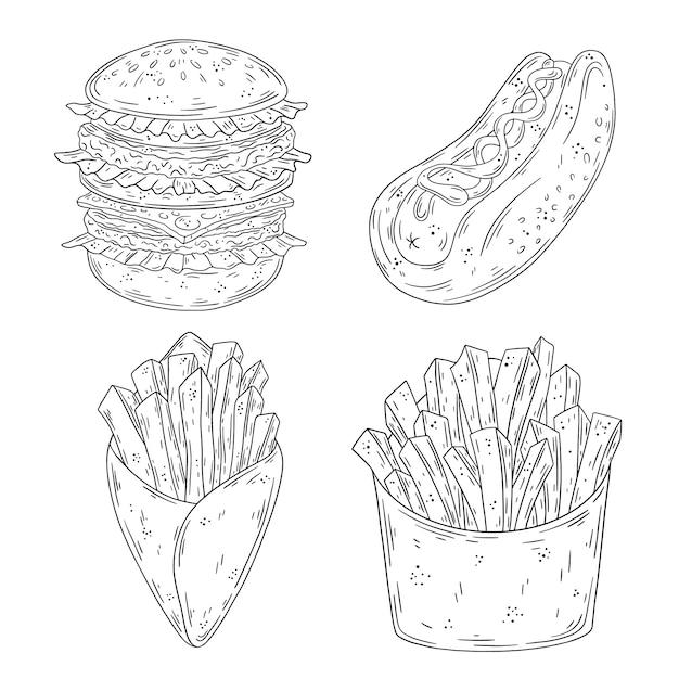 Conjunto de fast-food doodle mão desenhada. hambúrguer, cachorro-quente, batata frita. Vetor Premium