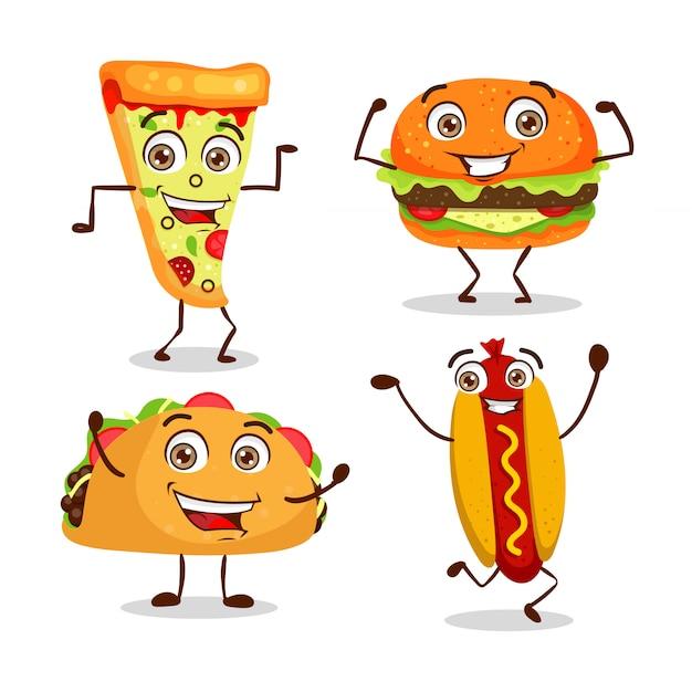 Conjunto de fast-food feliz dos desenhos animados Vetor Premium