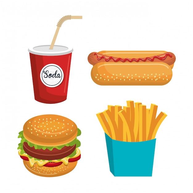 Conjunto de fast-food isolado ícone do design Vetor Premium