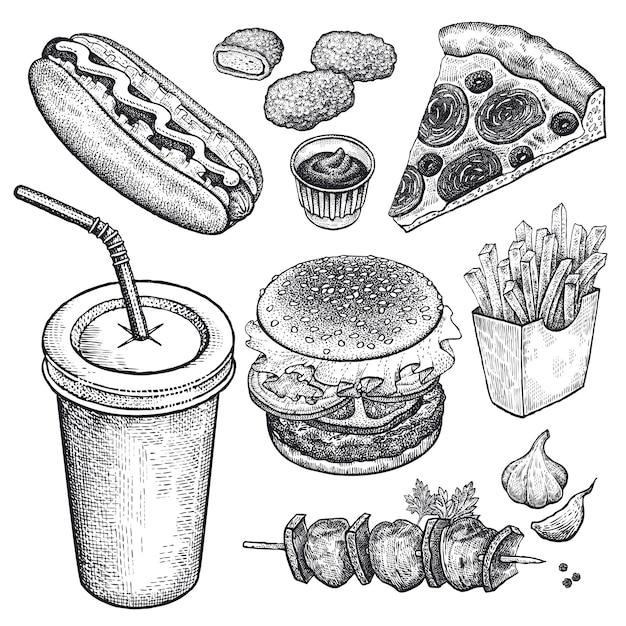 Conjunto de fast-food. Vetor Premium