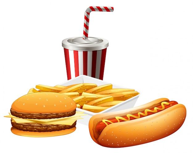 Conjunto de fast food Vetor grátis