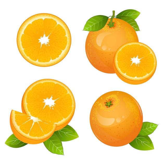 Conjunto de fatia de fruta laranja suculenta fresca Vetor Premium