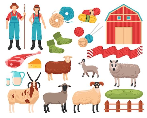 Conjunto de fazenda de criação de ovinos Vetor grátis