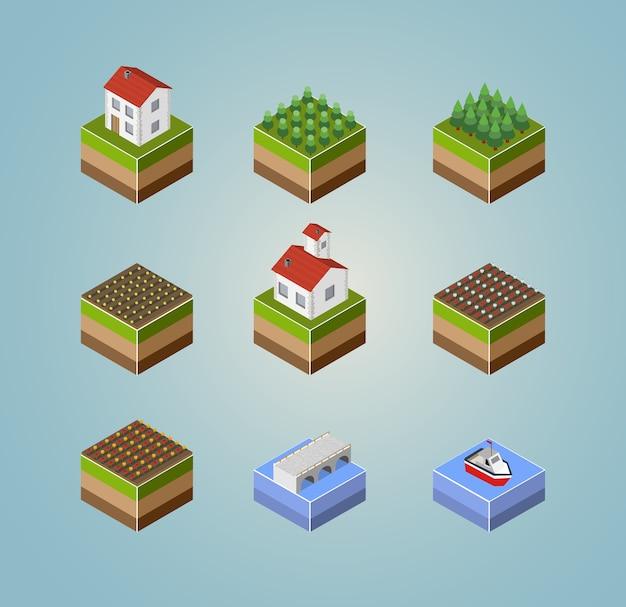 Conjunto de fazenda de paisagem de paisagem isométrica de objetos, colheita e rios. Vetor Premium