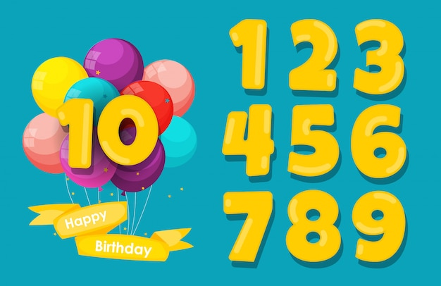 Conjunto de feliz aniversário aniversário números parabéns, fundo de convite. ilustração Vetor Premium