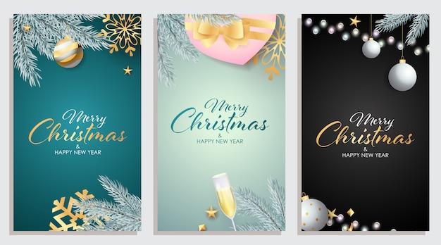 Conjunto de feliz natal e feliz ano novo cartão Vetor grátis