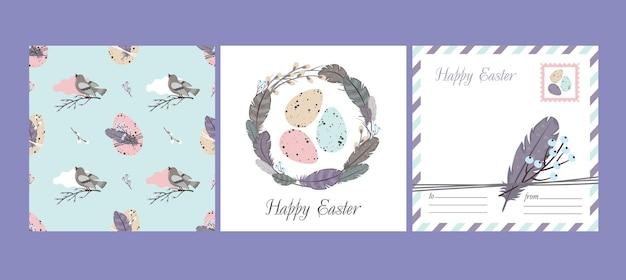 Conjunto de feliz páscoa: cartão e padrão sem emenda. grinalda de salgueiro, penas, pássaros, ovos de páscoa. Vetor Premium