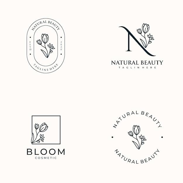 Conjunto de femininos desenhados à mão, logotipo para salão de spa, boutique de beleza e cosméticos para cabelos, Vetor Premium