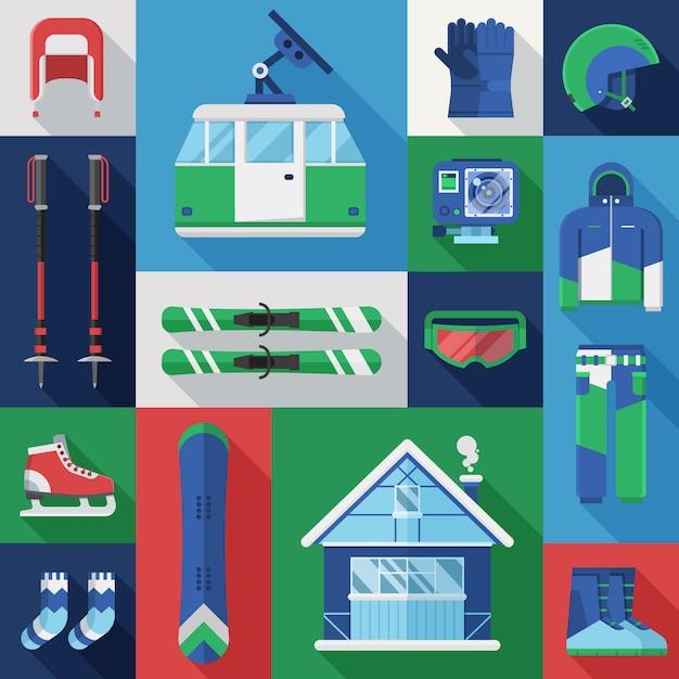 Conjunto de férias de inverno. coleção de vetores de equipamentos de esqui e snowboard de montanha. Vetor Premium