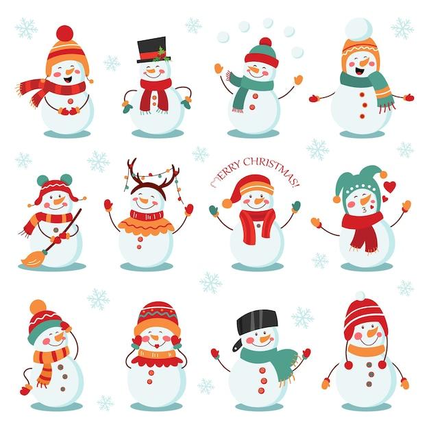 Conjunto de férias de inverno do boneco de neve. bonecos de neve alegres em trajes diferentes. Vetor Premium