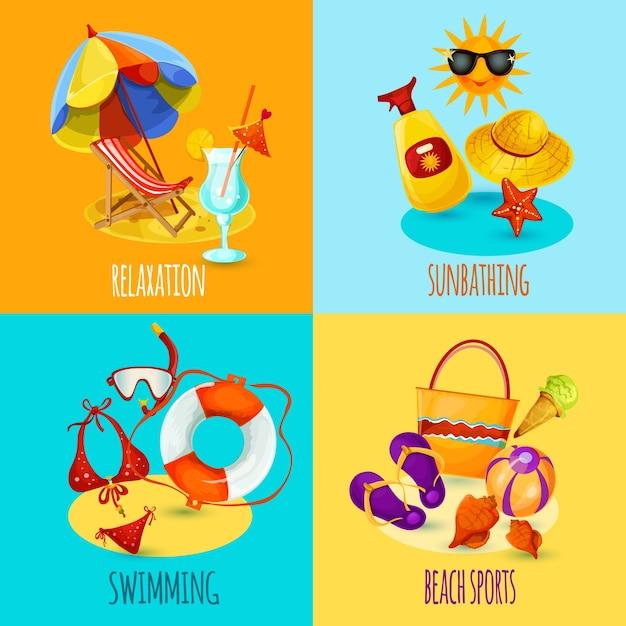 Conjunto de férias de verão Vetor grátis