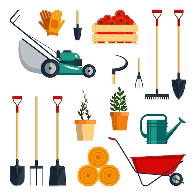 Conjunto de ferramentas agrícolas plana-ilustração. coleção de ícone de instrumentos de jardim isolada no fundo branco. equipamento agrícola. Vetor Premium