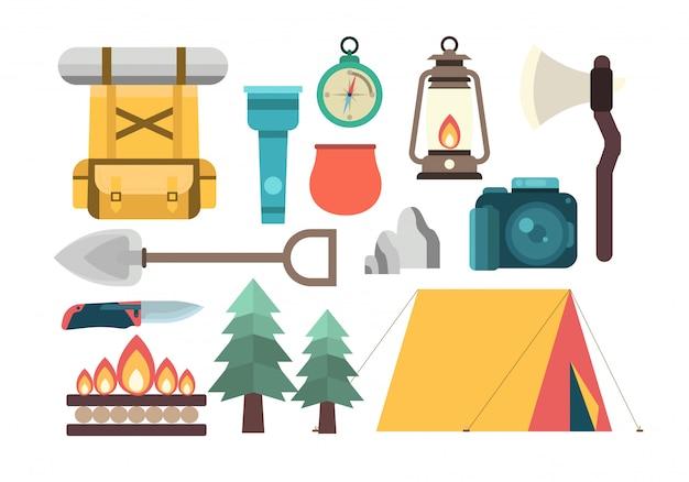 Conjunto de ferramentas de acampamento de escoteiro de verão Vetor Premium