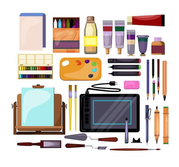 Conjunto de ferramentas de arte e artesanato Vetor grátis