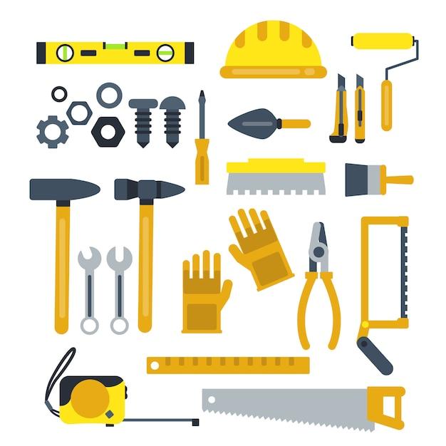 Conjunto de ferramentas de construção Vetor Premium