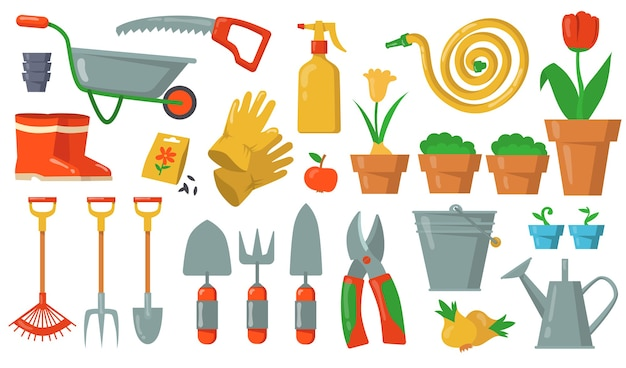 Conjunto de ferramentas de jardim. ancinho, pá, balde, cortador, garfo, luvas, planta em vaso, carrinho, mangueira, ilustrações de gumboots em fundo branco. para equipamentos de jardinagem, agricultura, horticultura Vetor grátis