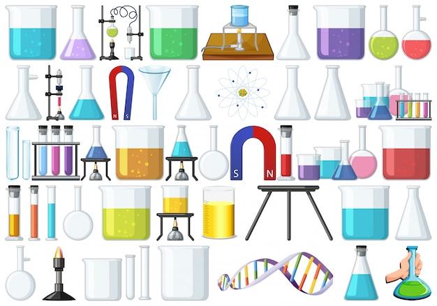 Conjunto de ferramentas de laboratório Vetor Premium
