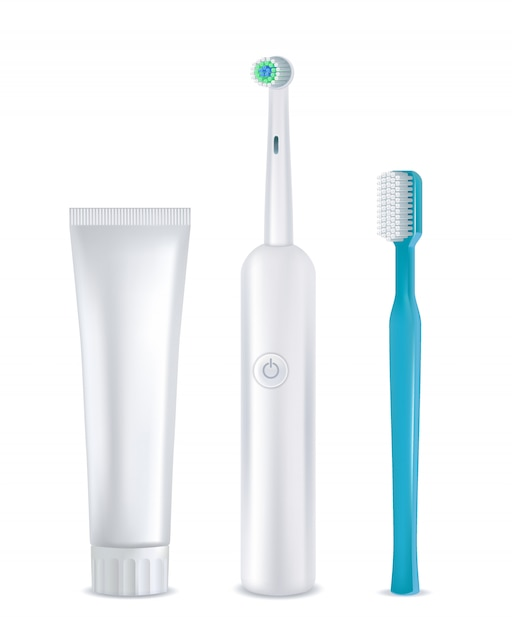 Conjunto de ferramentas de limpeza dentária, realista Vetor Premium