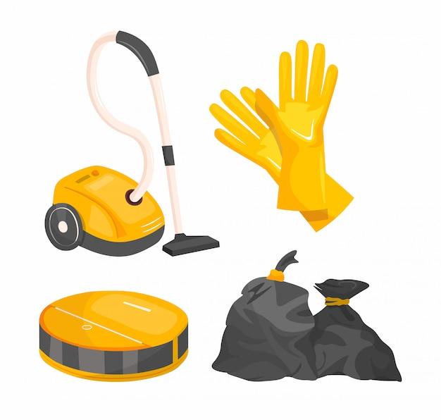 Conjunto de ferramentas de limpeza dos desenhos animados. conjunto de utensílios de limpeza doméstica. Vetor Premium