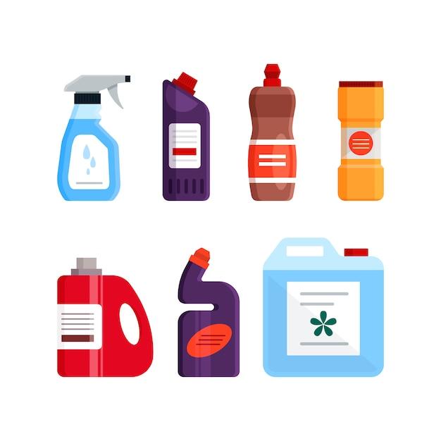 Conjunto de ferramentas de limpeza, produtos detergentes e desinfetantes, equipamentos domésticos para lavar. ilustração plana isolada no fundo branco Vetor Premium