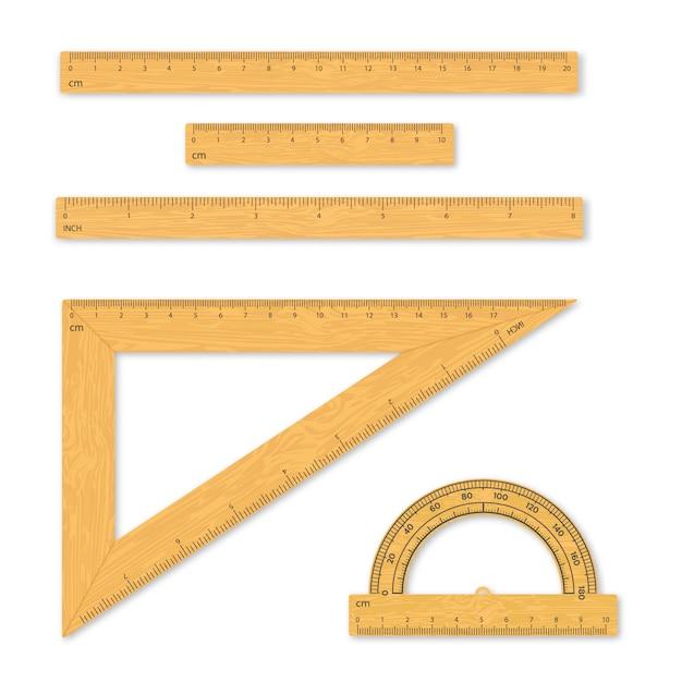 Conjunto de ferramentas de medição. réguas, triângulos, transferidor. Vetor Premium