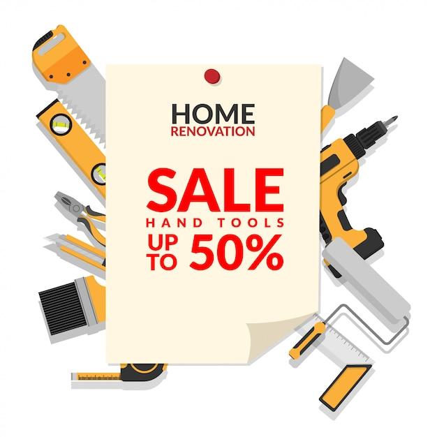 Conjunto de ferramentas de reparo em casa isolado no fundo branco Vetor Premium