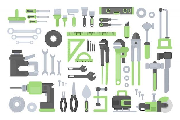 Conjunto de ferramentas de trabalho. régua e martelo, serra e machado. Vetor Premium