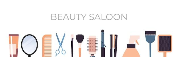 Conjunto de ferramentas e acessórios de cabeleireiro ilustração vetorial horizontal conceito de salão de beleza Vetor Premium