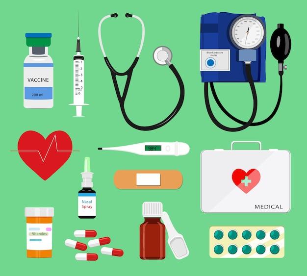 Conjunto de ferramentas médicas coloridas: seringa, estetoscópio, termômetro, pílulas, kit de primeiros socorros, medidor de pressão arterial. ilustração de ícones médicos Vetor Premium