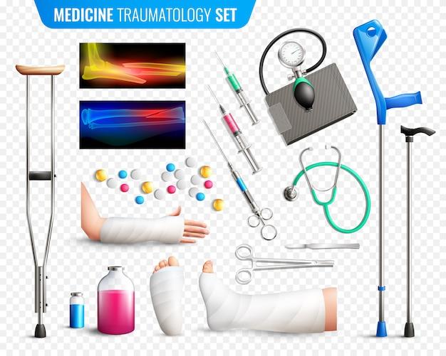 Conjunto de ferramentas médicas de trauma Vetor grátis