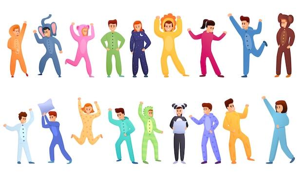 Conjunto de festa do pijama, estilo cartoon Vetor Premium