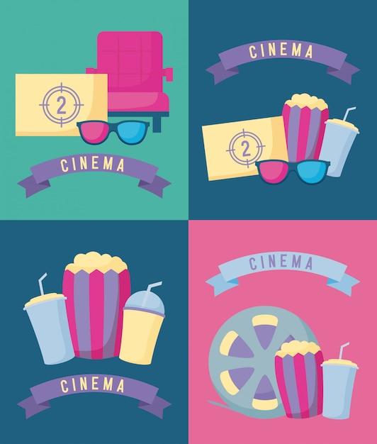 Conjunto de filme de cinema Vetor Premium