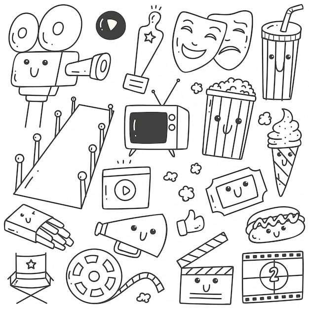 Conjunto de filme estilo kawaii doodles arte em linha Vetor Premium