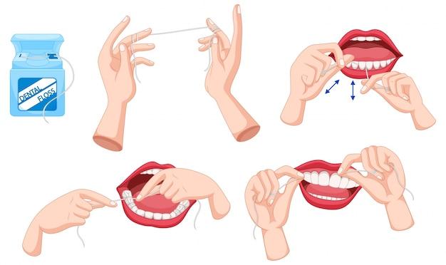 Conjunto de fio dental e como usar a ilustração Vetor grátis