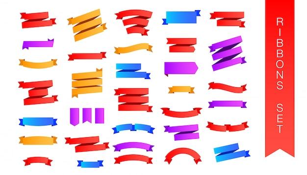 Conjunto de fita colorida plana leigos isolado fundo branco Vetor Premium