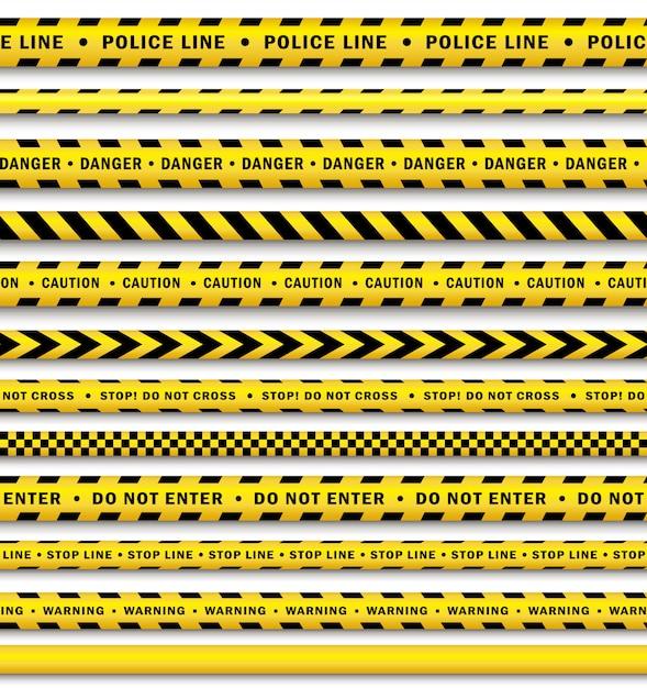 Conjunto de fita de polícia preto amarelo vector Vetor Premium
