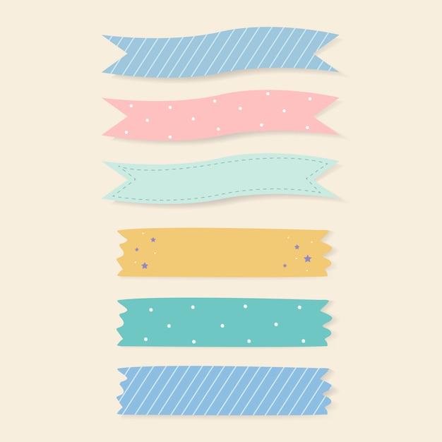 Conjunto de fitas adesivas estampadas coloridas Vetor grátis