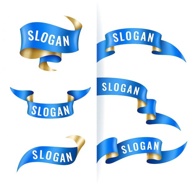 Conjunto de fitas azuis e douradas vintage, modelo de banner, elementos de design Vetor Premium