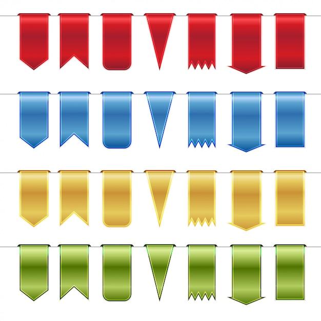 Conjunto de fitas brilhantes vermelhas, azuis, ouro e verdes Vetor Premium