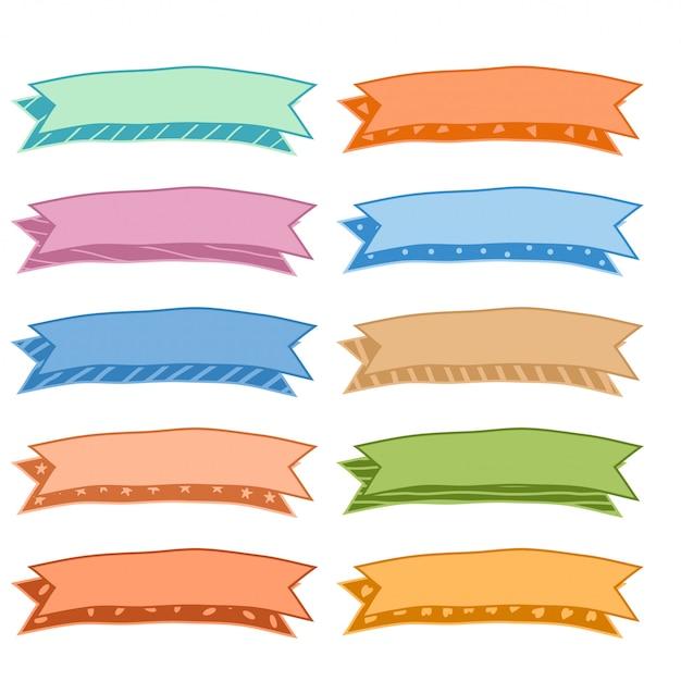 Conjunto de fitas coloridas coloridas de mão desenhada de dez Vetor grátis