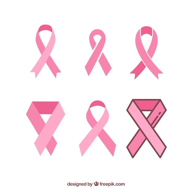 Conjunto de fitas cor de rosa símbolos para o câncer de mama Vetor grátis
