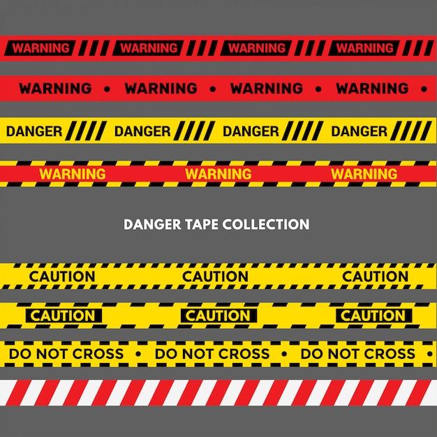 Conjunto de fitas de aviso ou perigo. listra preta e amarela da polícia Vetor Premium