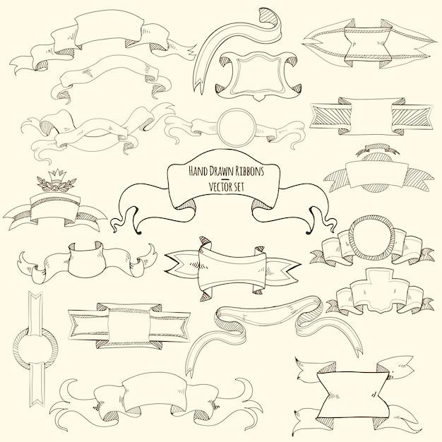 Conjunto de fitas de mão desenhada Vetor grátis